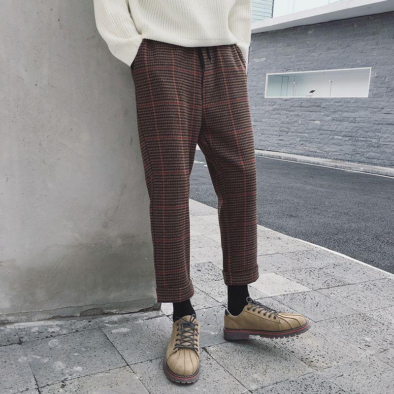2018 frühling Neueste Herrenmode Koreanischen Stil Plover Gitter Wollmischungen Neunte Hosen Grau/Kaffee Farbe Lose Beiläufige hosen S-XL