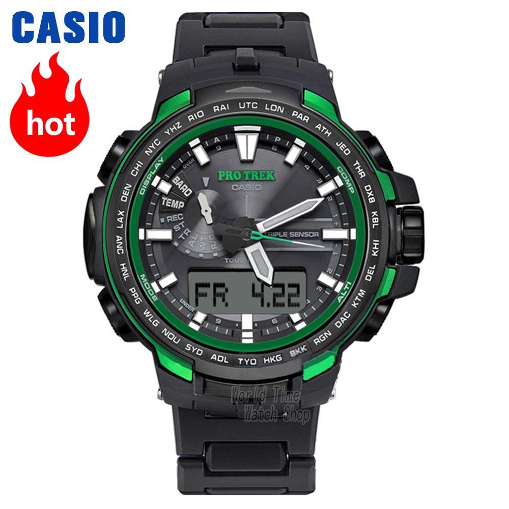Casio uhr Protrek männer Quarz Sport Uhr Outdoor Bergsteigen Radio welle solar energie Wasserdichte Uhr PRW-6100