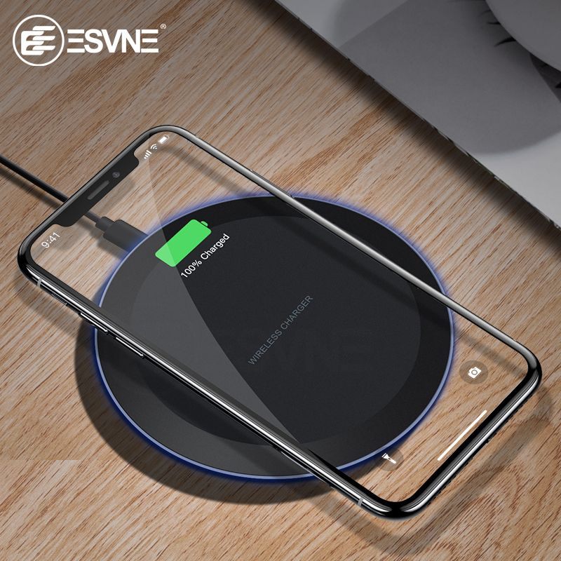 ESVNE 10W Qi Wireless Charger for iPhone X Xs MAX XR 8 plus Fast Charging for Samsung S8 S9 Plus Note 9 8 USB Phone Charger Pad