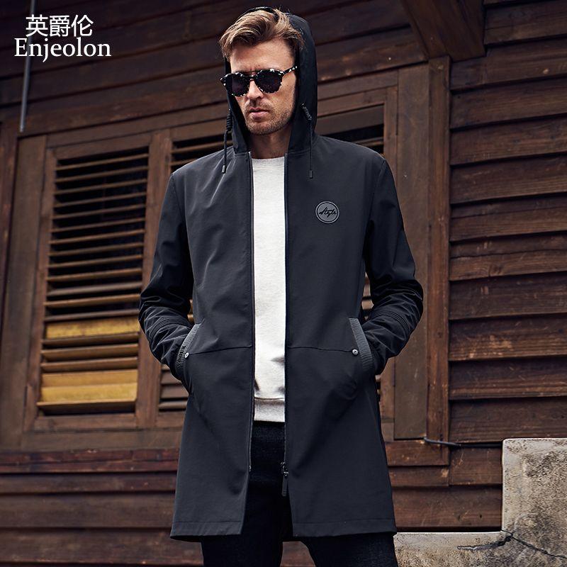 Enjeolon marke neue hoodies lange trenchcoat männer kleidung Qualität männlichen schwarzen trenchcoat windjacke plus größe 3XL JK0419