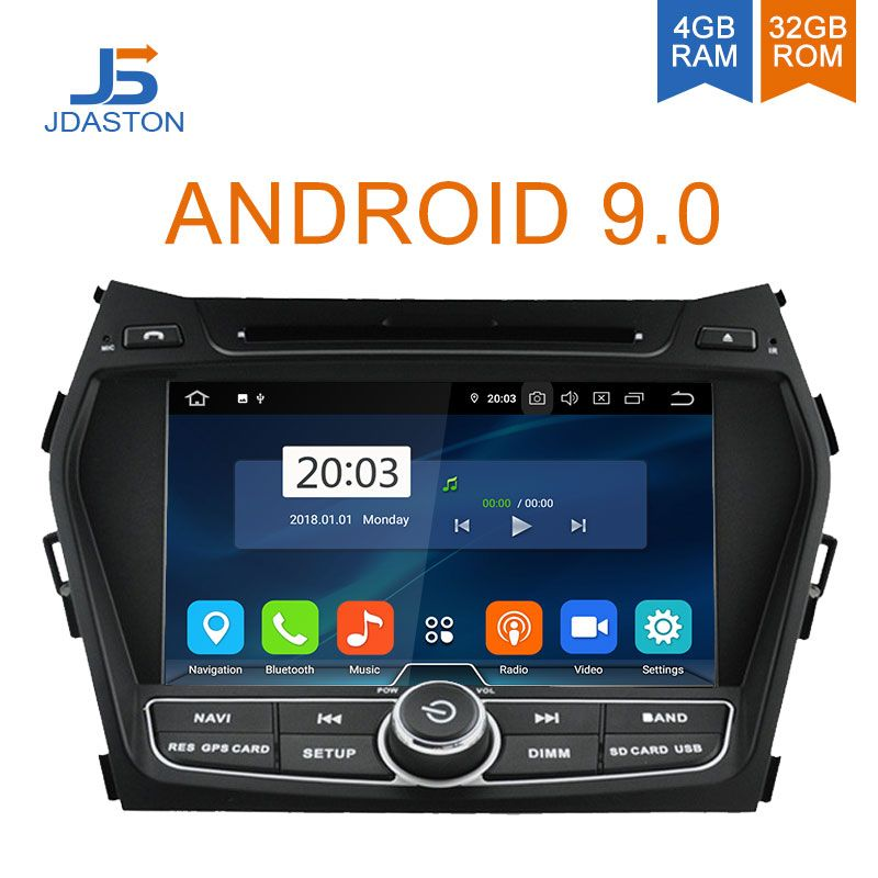 JDASTON Android 9.0 Auto DVD Player Für Hyundai IX45/Santa fe 2013 2014 WIFI Multimedia GPS Stereo 2 Din Auto radio band recorder