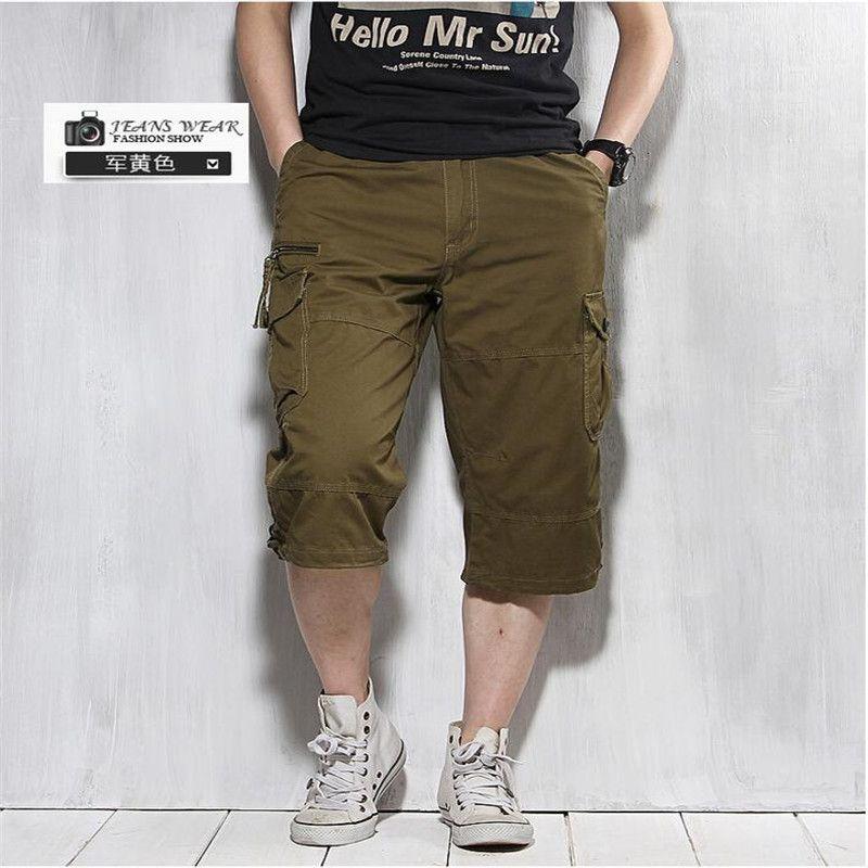 Pantalones Cortos de verano Para Los Hombres Nueva Llegada de la Marca de Gran Tamaño Color sólido Multi-Bolsillo de Los Pantalones de Cortocircuitos de la Playa Pantalones Capris Flojos Cpris A3021