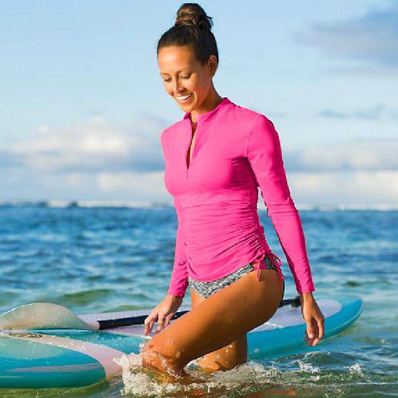 2016 Для женщин Long Sleeve Rashguard Плавание Рубашки для мальчиков Для женщин S Купальники для малышек лайкра Surf Rushguard Одежда высшего качества УФ-защи...