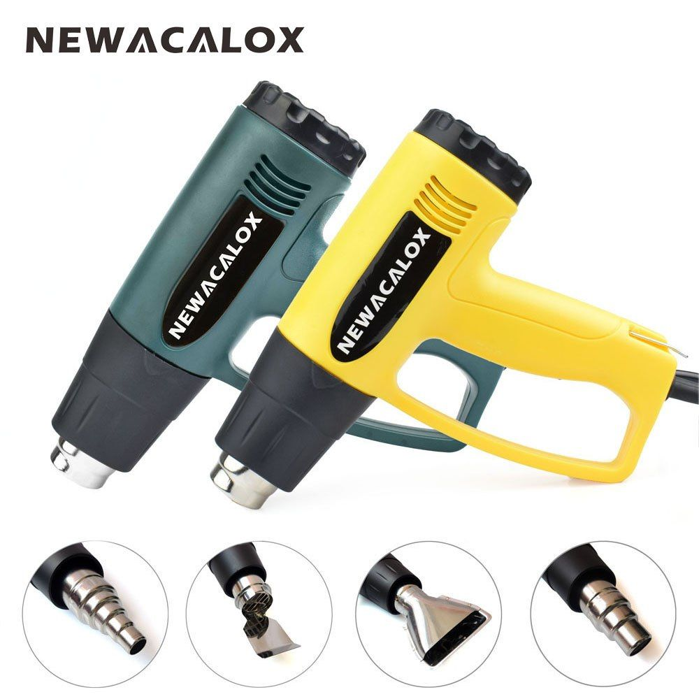 NEWACALOX 2000 Watt 220V EU Plug Industrial Electric Hot Air Gun Thermoregulator Heat Guns Shrink Wrapping Thermal Heater Nozzle