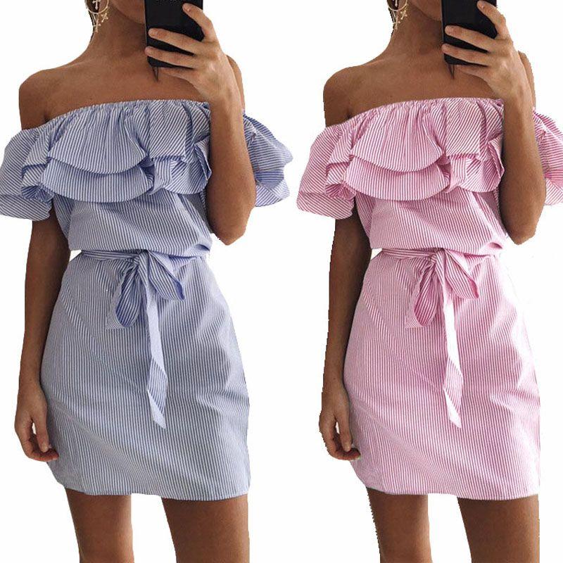 Casual Robe D'été Femmes 2018 Rose Bleu Encolure Rayé dames Robe Chemise Mini Sexy Plage Robe Courte Tube de Travail tunique