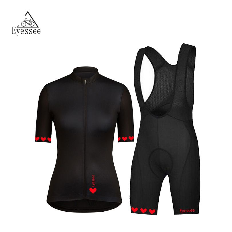 2018 Eyessee black short-sleeved female bicycle clothing / summer high quality breathable mesh female professional bike jersey