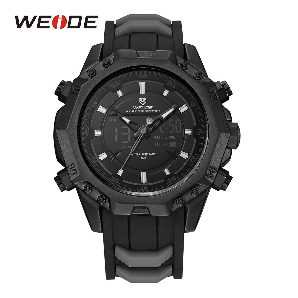 WEIDE Men Sport Watches Analog Quartz Movement Digital Display Day Back Light Alarm Black Silicone Strap Buckle Date Wristwatch