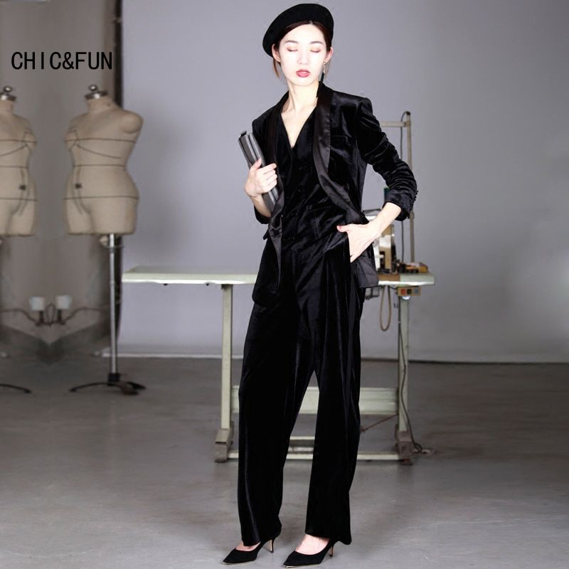 CHIC&FUN High Quality Gold Velvet Women Suit Blazer Spring and Autumn Fashion Thin Slim Fit Ladies Suit Jacket