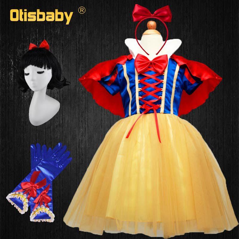 OTISBABY 4 couches de Neige Blanc Cosplay Robes pour les Filles Parti Princesse Robe Enfants de Tulle Robe Bébé Fille Tutu Robe infantile