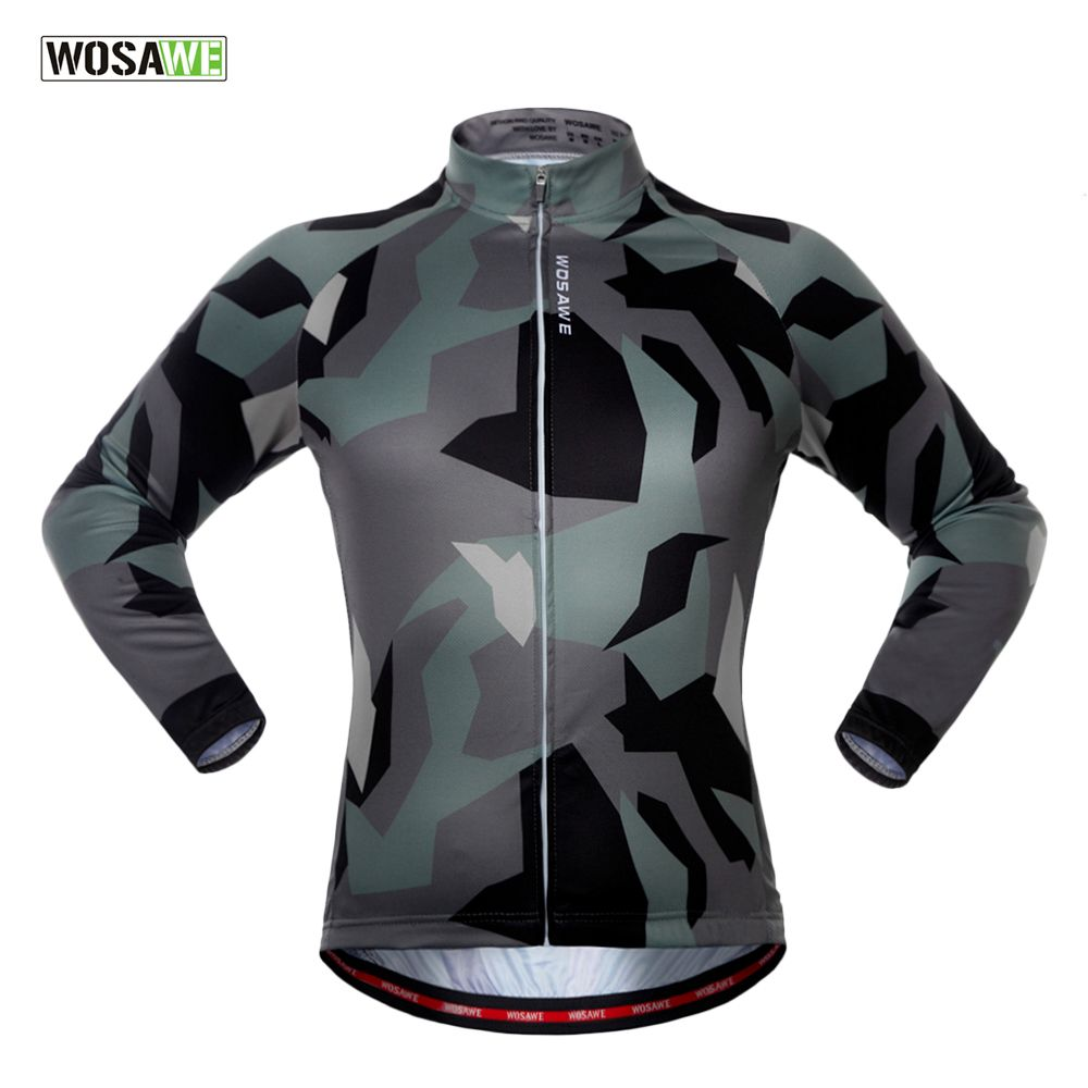 WOSAWE Spring Autumn Long Sleeve Cycling Jersey Quick Dry Windproof Cycling Tops Bike Jersey For Men And Women