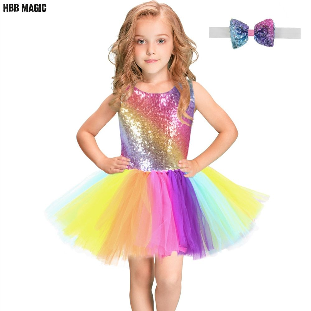 Rainbow Sequins Tutu Dress for Kids Fashion Backless Sleeveless Tulle Dress Girls Clothes Colorful Children Girl Party Dress 2-8