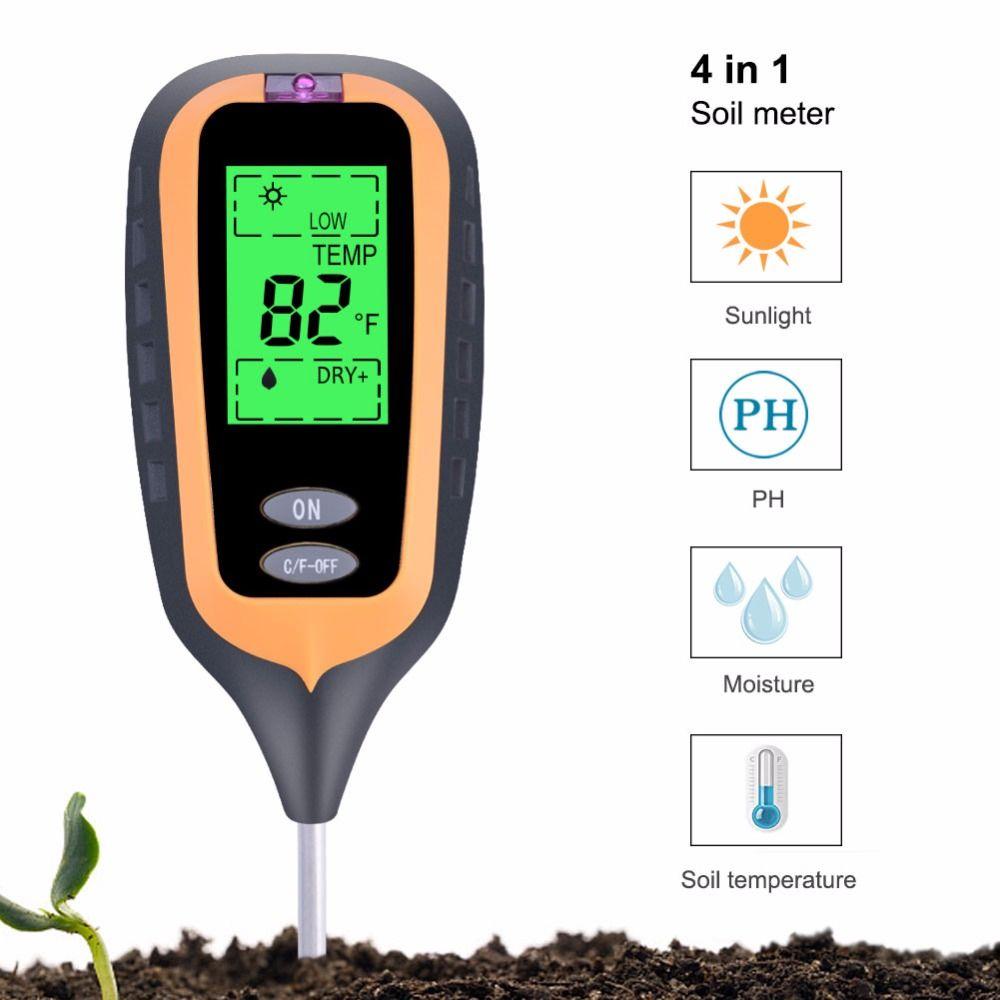 2019 nouveau 4in1 plante terre sol PH humidité lumière sol mètre thermomètre testeur de température testeur de lumière du soleil pour jardin