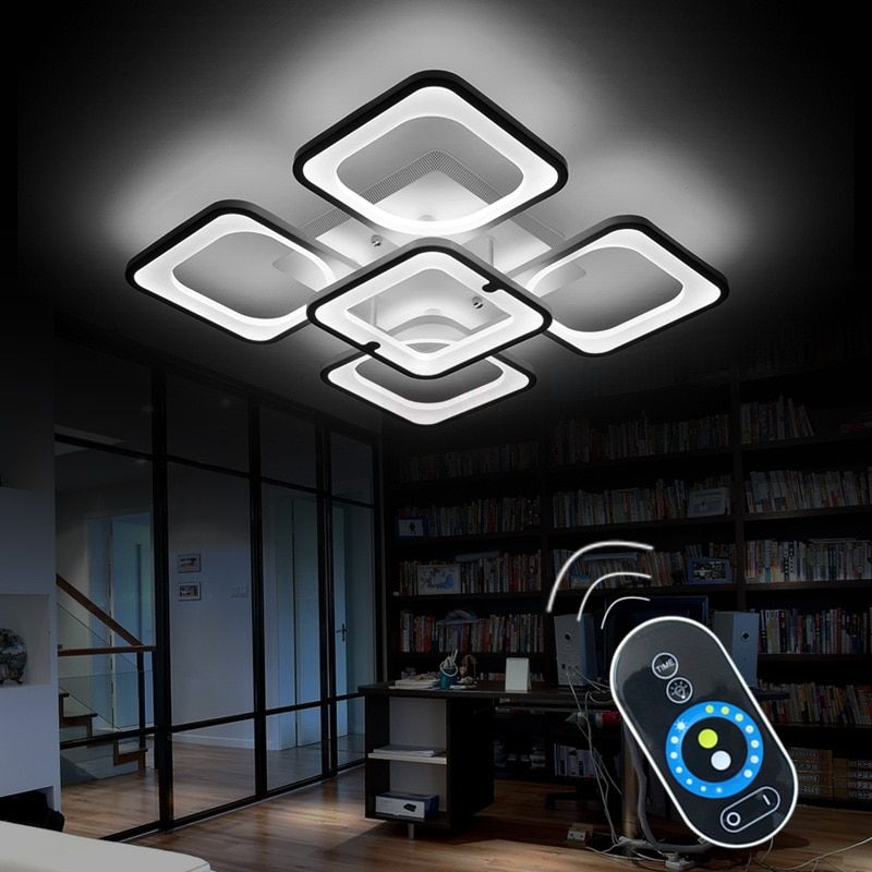 Remote Modern LED Ceiling Lights Fixture For Bedroom Dining Room Acrylic Lampshade Dimmable For 15-25 Meters Lamparas De Techo