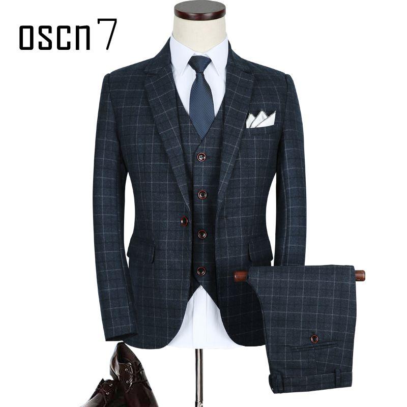 OSCN7 3pcs plaid slim fit suit men 2017 new classic terno masculino plus size leisure wedding suits for men 5XL