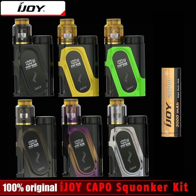 Original iJOY CAPO Squonker Box 100 Watt Elektronische Zigarette Mod & CAPO Squonk Kit Angetrieben durch 18650/20700/21700 batterie e cig Mod