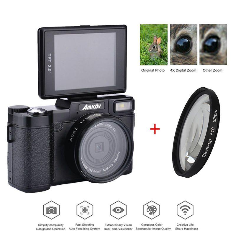 AMKOV 1080P AMK-R2 24MP HD Digital SLR Camera Camcorder+Macro Lens Recording 4x Zoom 3.0