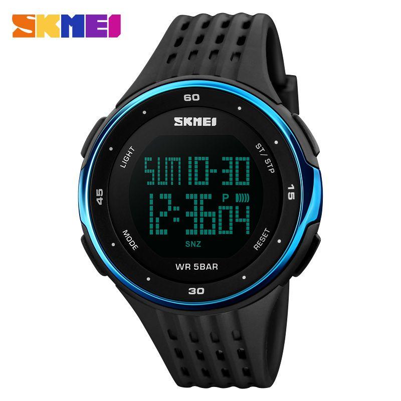 SKMEI 1219 Digital Wristwatches Men Outdoor Sport Watches Chronograph Fashion Clock PU Band Waterproof Relogio Masculino Watch