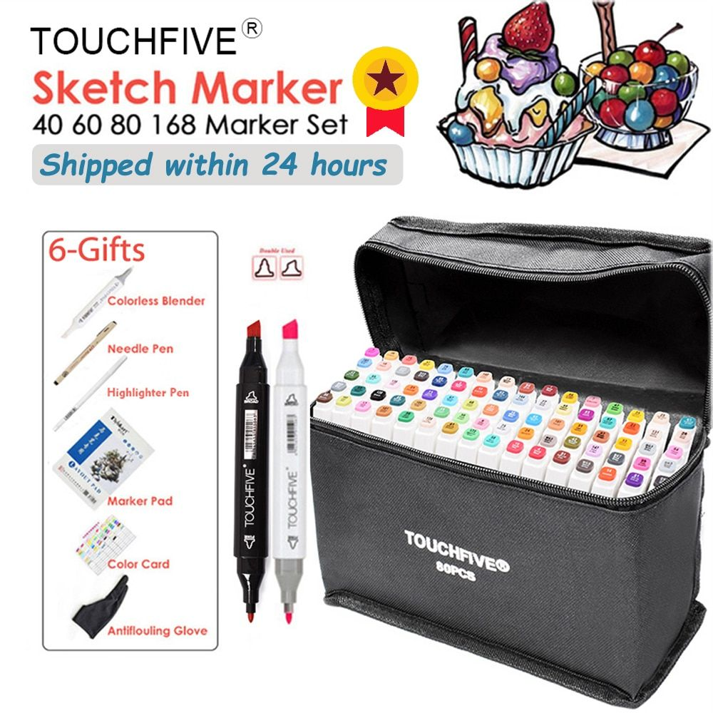 TOUCHNEW Markers Pen Set 40/60/80/168 Color Animation Sketch Marker Dual Head Drawing Art Brush Pens Alcohol Based with 6 Gifts
