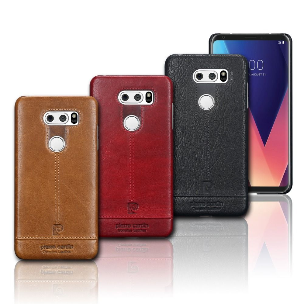 Pierre Cardin Hot Sale Brand Ultrathin Genuine Leather Hard Back Case Cover For LG V30 Luxury Leather Phones Case Free Shipping