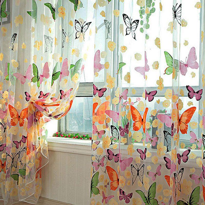 Hot Schmetterling Schiere Vorhang Organza Kind Fenster Balkon Tüll Vorhänge für Wohnzimmer Wohnkultur Vorhang Kostenloser Versand