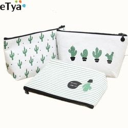 eTya Cosmetic Bag For Women Travel F Printing Cactus Ladies Make Up Bags Toiletry Make Up Wash Organizer Set Pouch