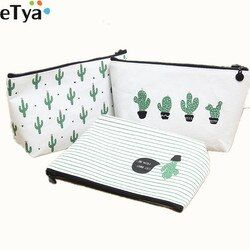 eTya Women Cosmetic Bag Travel New 2018 Fashion Printing Cactus Ladies Make Up Bags Toiletry Wash Organizer Case