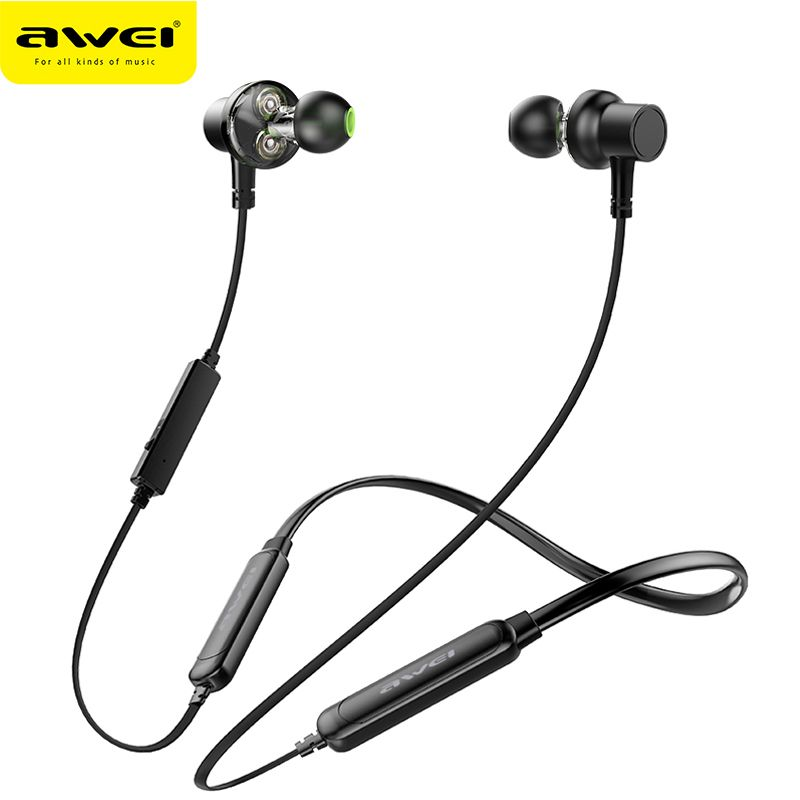 AWEI G20BLS Wireless Headphones Bluetooth Earphone With Mic Dual Driver 14H Music Time Active Noise Cancelling Headset For Phone