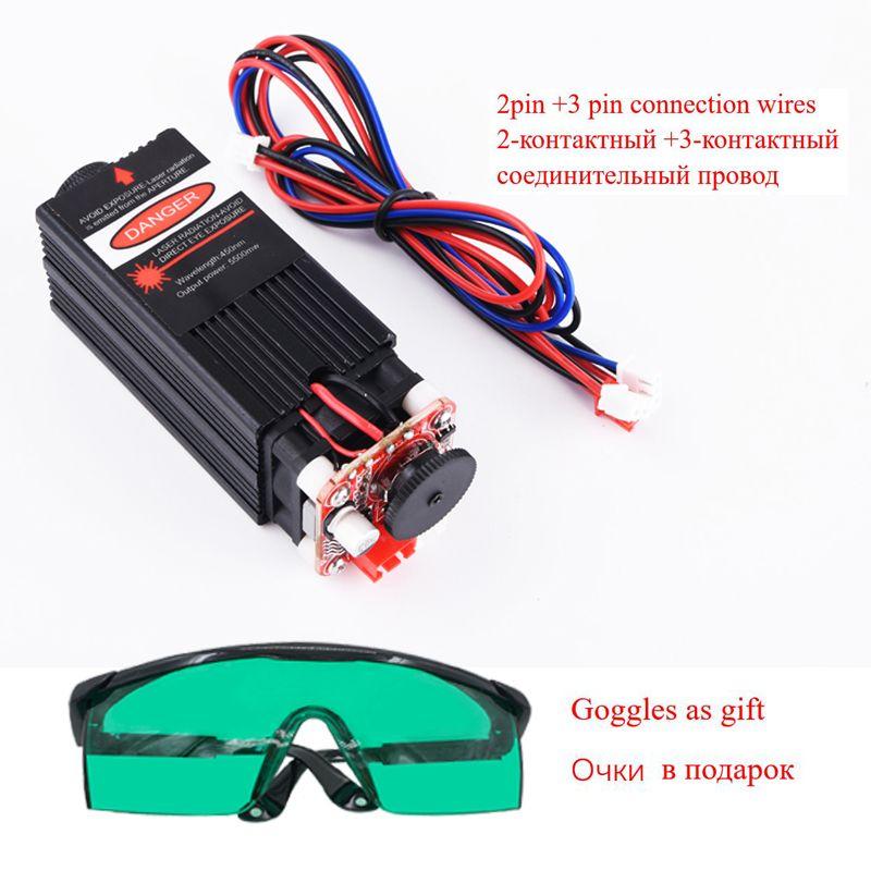 5,5 w 450nm blau laser modul, laser gravur maschine teile, laser schneiden TTL modul 5500 mw laser rohr + brille