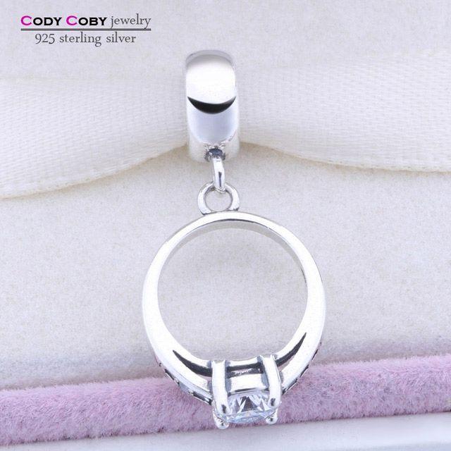 Plata de ley 925 anillo flotante charm beads fit Pandora original pulsera colgante con CZ berloques párr pulsera Joyería de Las Mujeres