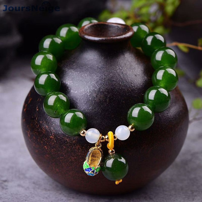 Wholesale JoursNeige Green Chalcedony Crystal Bracelets <font><b>12mm</b></font> beads With Cloisonne Shoes Pendant Bracelet Lucky for Women Jewelry