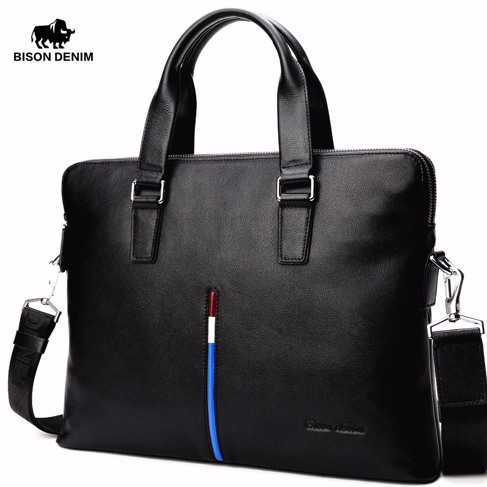 BISON DENIM Genuine Leather Bag Laptop Briefcase Bag for Men Casual Men Handbags Cowhide Men Crossbody Bag Travel Bags N2698-3b