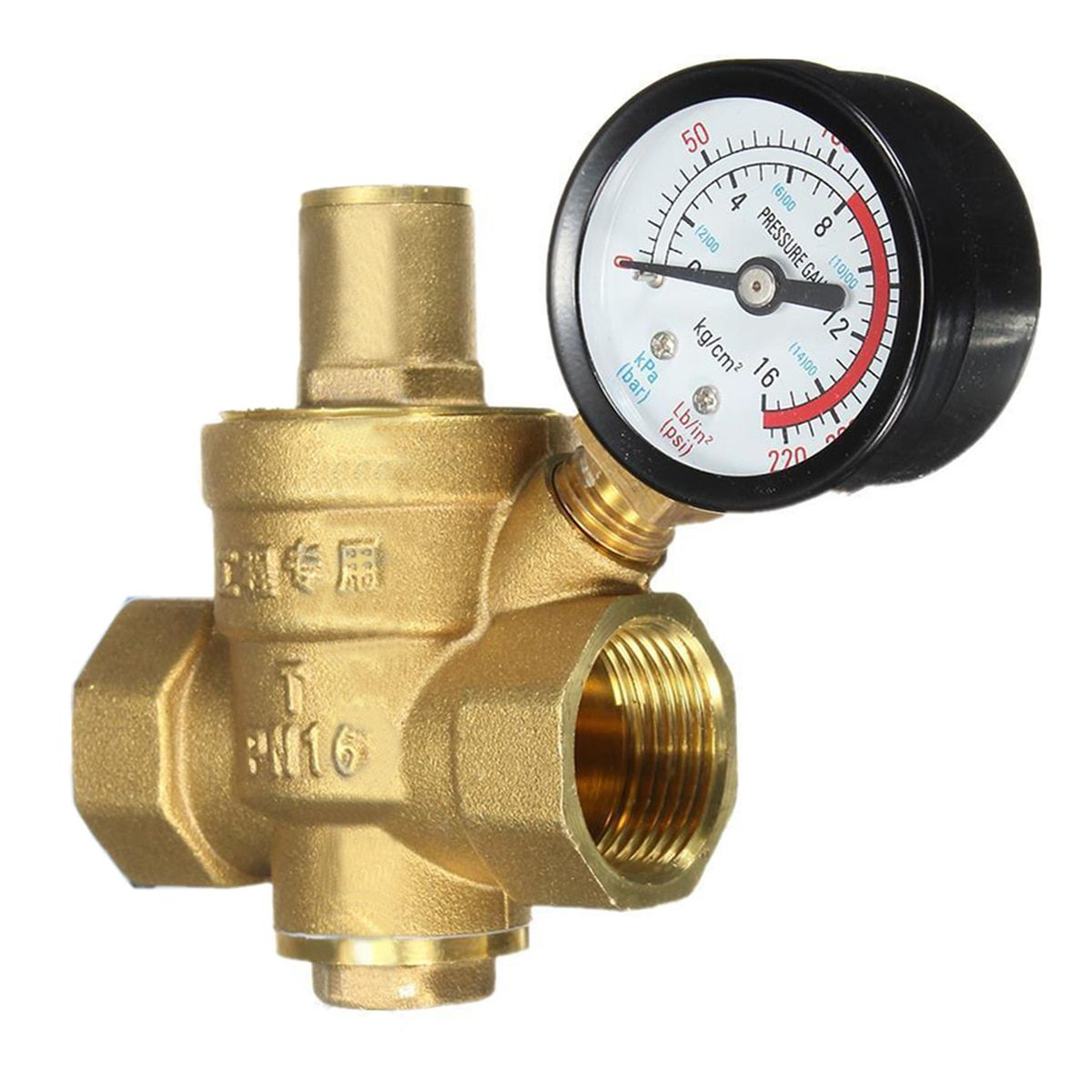 DN20 3/4 Brass Water Pressure Reducing Maintaining Valves <font><b>Regulator</b></font> Mayitr Adjustable Relief Valves With Gauge Meter 85*63mm