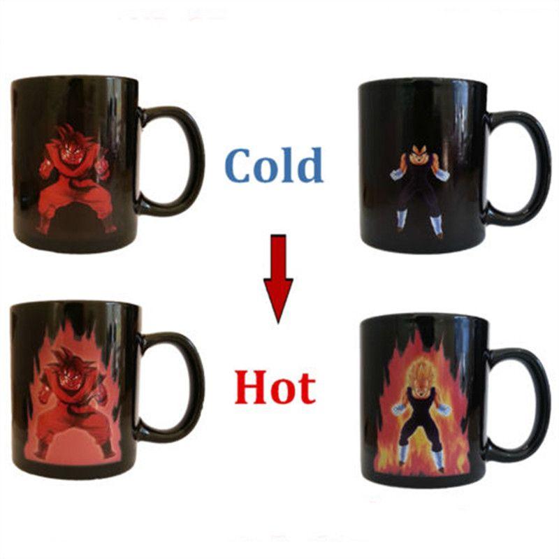 Free Shipping Dragon Ball Z Coffee Mug Goku Vegeta Heat Reactive Color Changing Cup Change <font><b>Ceramic</b></font> Caneca Cups Novelty Mugs Gift