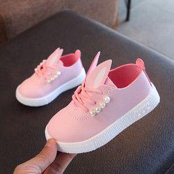 Muqgew Anak-anak Balita Gadis Lucu Mutiara Telinga Kelinci Sepatu Kasual untuk Gadis Kecil Anak-anak Sepatu # Xtn