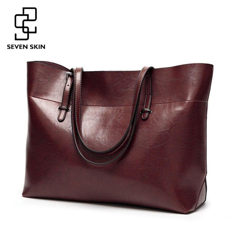SEVEN SKIN Women Messenger Bags <font><b>Large</b></font> Size Female Casual Tote Bag Solid Leather Handbag Shoulder Bag Famous Brand Bolsa Feminina