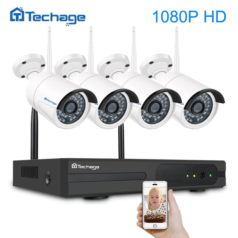 Techage HD Wireless CCTV System 4CH 1080P Security NVR 2MP Outdoor Waterproof Wifi IP Camera P2P Video Surveillance Kit 1TB HDD