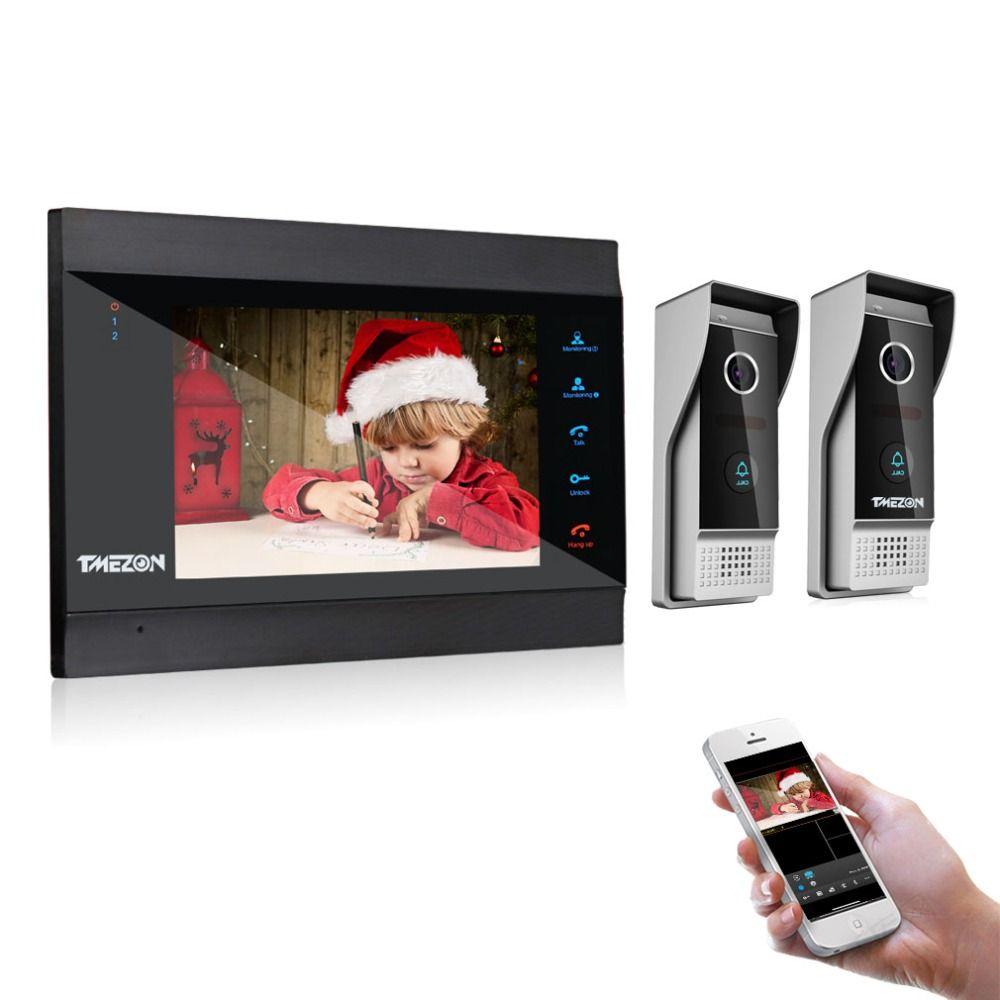 TMEZON 7 Inch Wireless/WIFI Smart IP Video Doorbell Intercom System with 1 Night Vision Monitor + 2 Rainproof Door Phone Camera