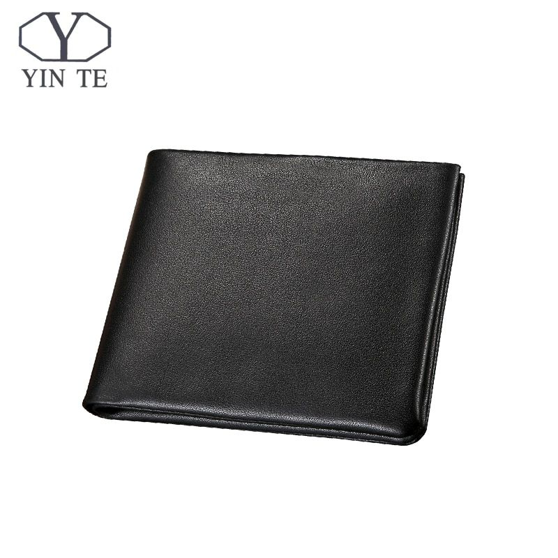 YINTE Men's Wallet Genuine Leather Business Casual Credit Card ID Holder Money Clip Black Wallet Two Layer Clip Portfolio T1095C