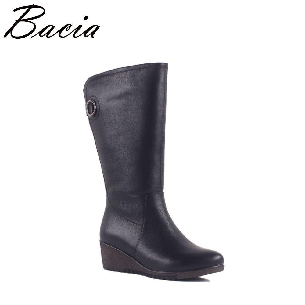 Bacia NEUE Frauen Winter Stiefel Warme Wolle Pelz Schuhe Kuh Leder stiefel Mitte Wade Stiefel Breite Keile Kurze Stiefel Größe 36-40 MA005