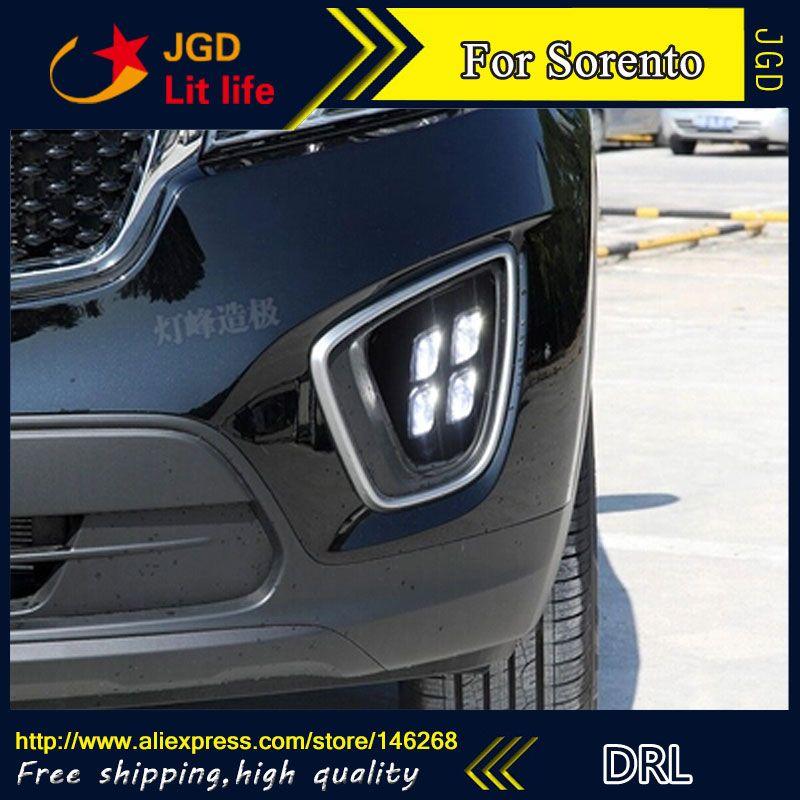 Free shipping ! 12V 6000k LED DRL Daytime running light for Kia Sorento 2015 2016 fog lamp frame Fog light Car styling
