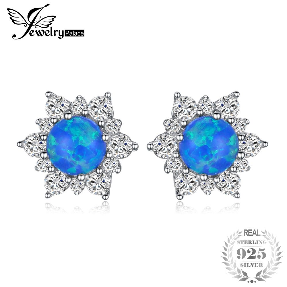 JewelryPalace 0.4ct Created Black Opal Princess Diana Halo Stud Earrings 925 Sterling Silver  Fine Jewelry gift For Women