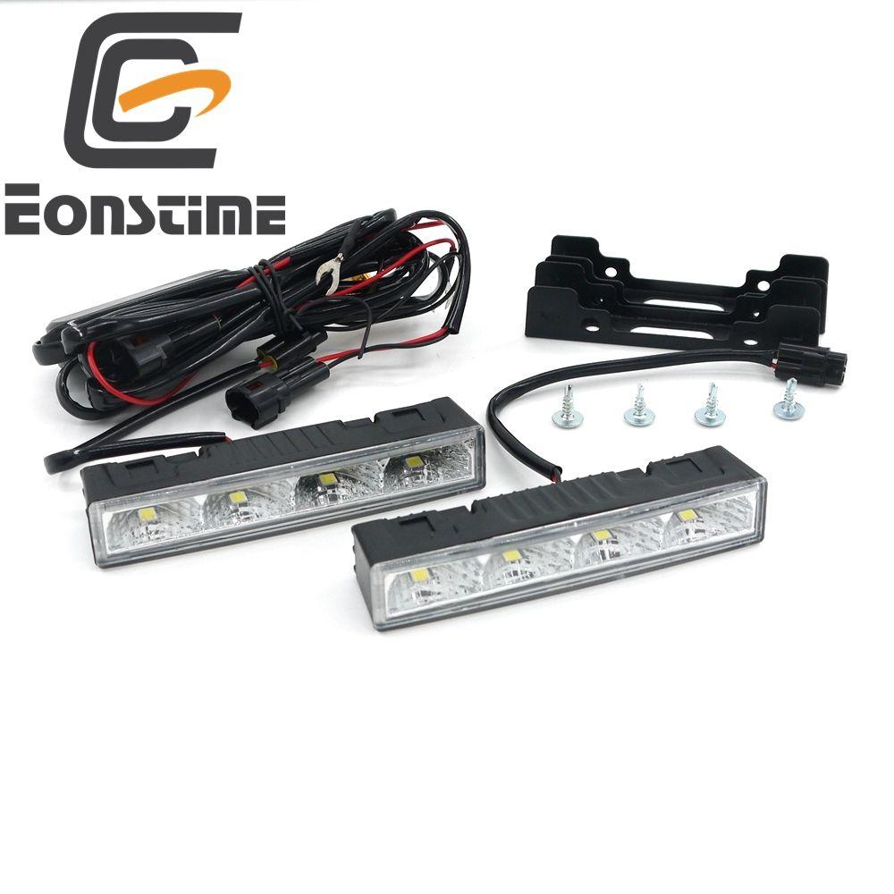 Eonstime 2cps 12V/24V Highlight LED Daytime Running Lights DRL 6000K Ultra-low Power Consumption 4LED 5050 ABS+Host Harness