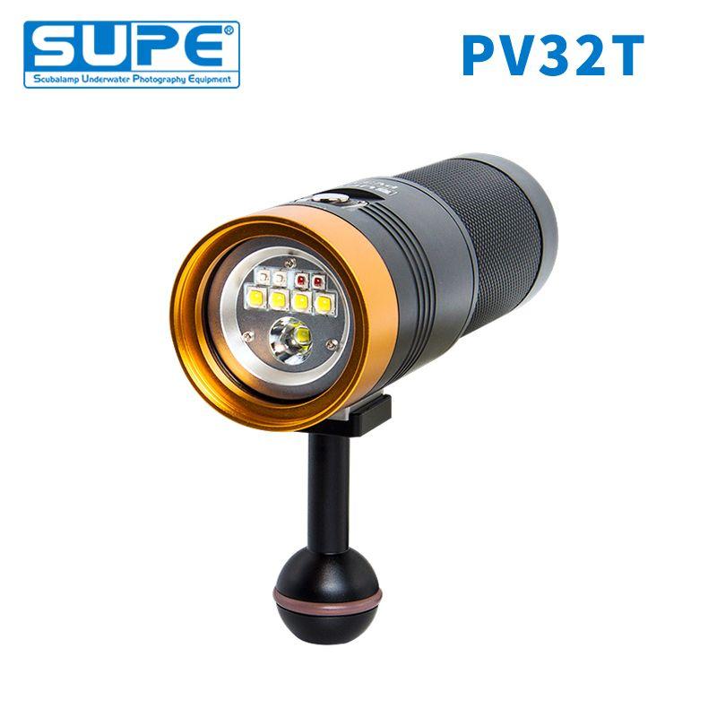 SUPE Scubalamp PV32T 3000 Lumen Weiß Rot Blau Rosa Spot Licht Unterwasser Video Licht Scuba Tauchen Licht Fotografie Fokus Licht