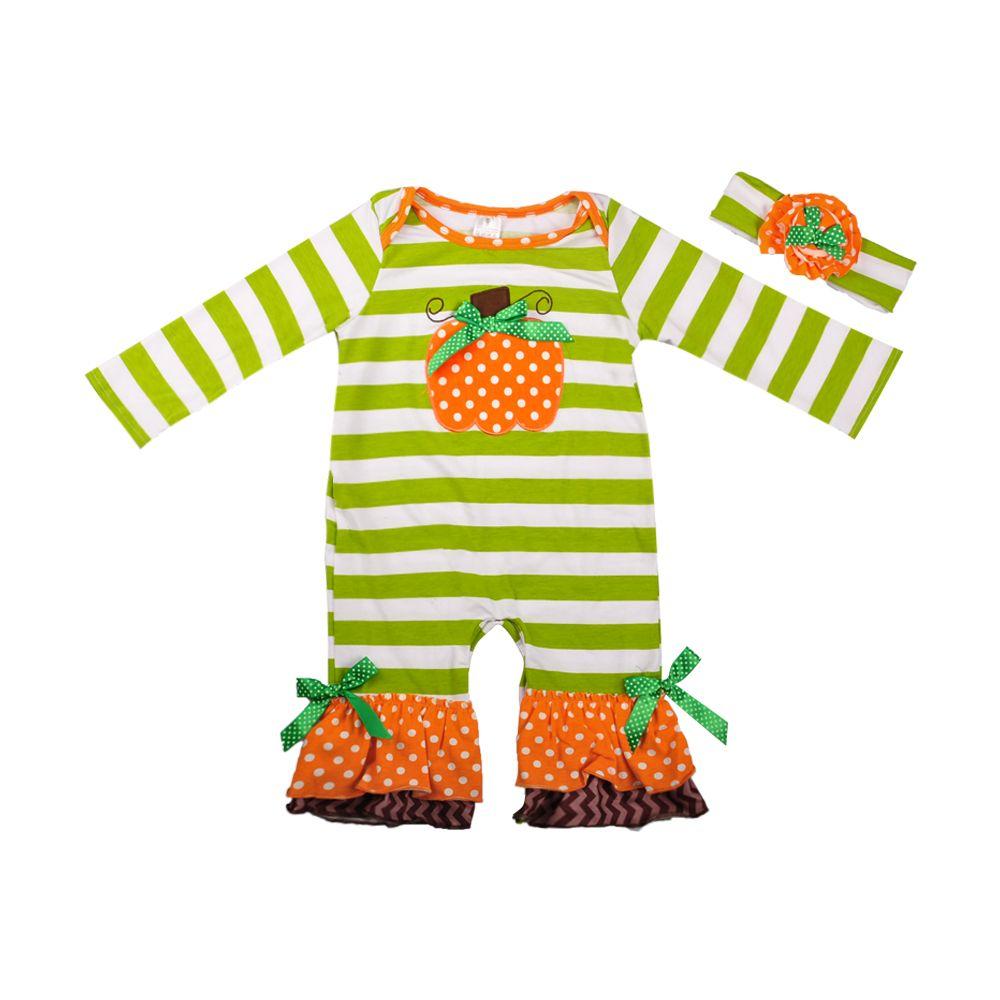 Halloween Baby Girls Boutique Pumpkin Romper Green Striped Popular Infant Ruffle Clothing With Headband Newborn Romper R025