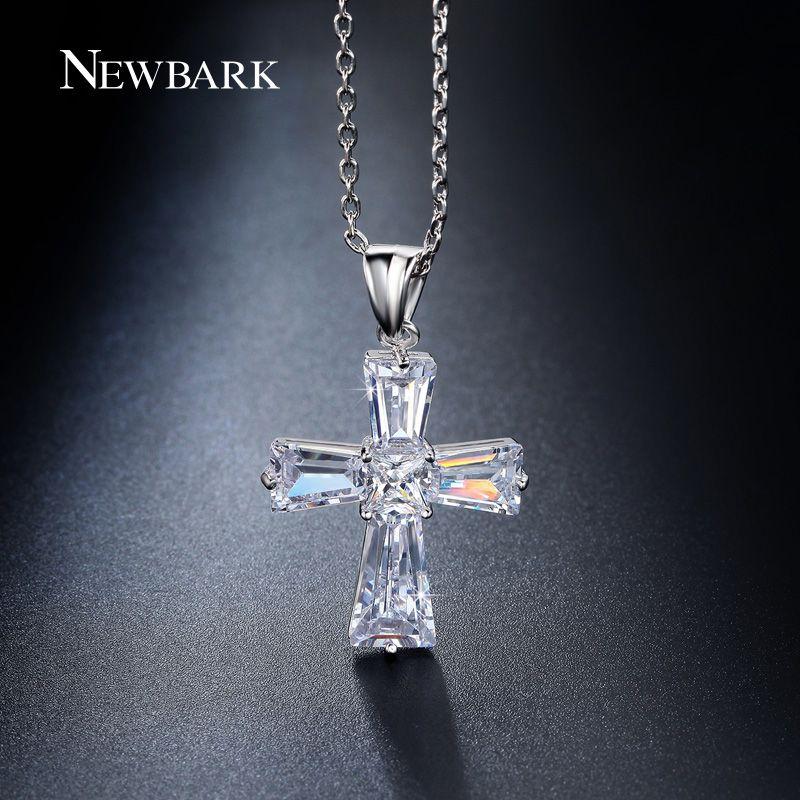 NEWBARK Elegant Cubic Zircon Cruz Collares Colgantes de Plata de Color Cruz Cristiana Jesús Joyería De La Mujer Accesorios