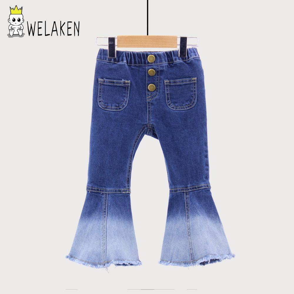 WeLaken Mode Filles Denim Cloche-bas Solide Enfants de Vêtements Printemps Vêtements D'été 2017 Nouveaux Enfants Jeans Vintage