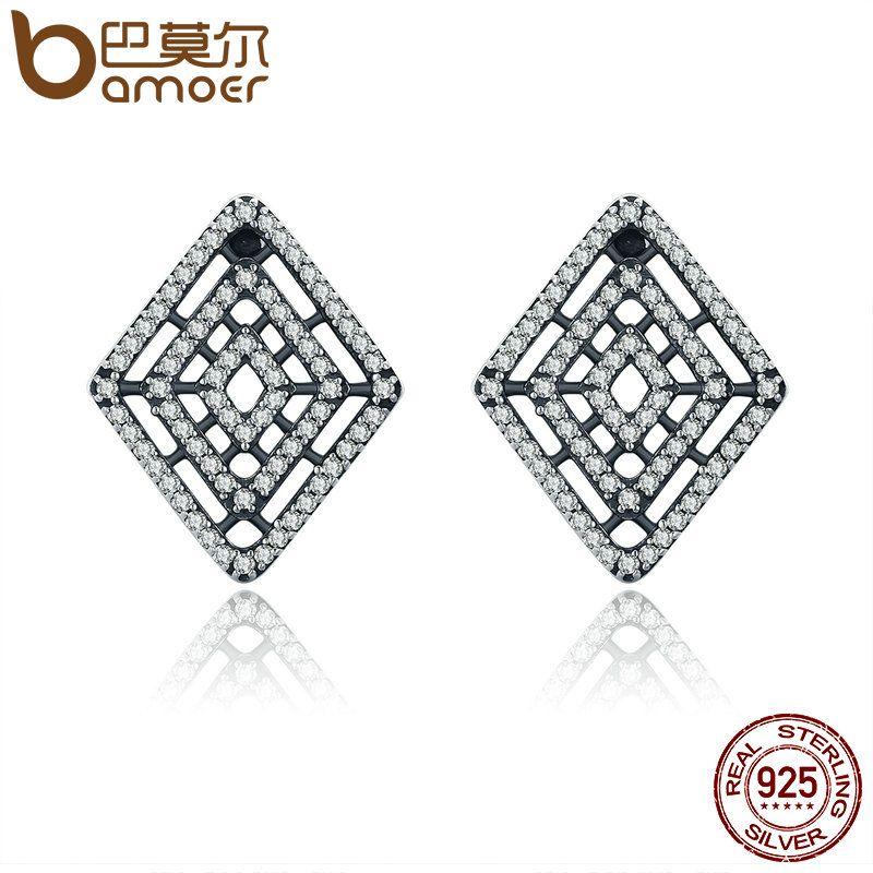 BAMOER 100% 925 Sterling Silver Geometric Lines Stud Earrings, Clear CZ Earrings for Women Luxury Silver Jewelry Gift PAS517