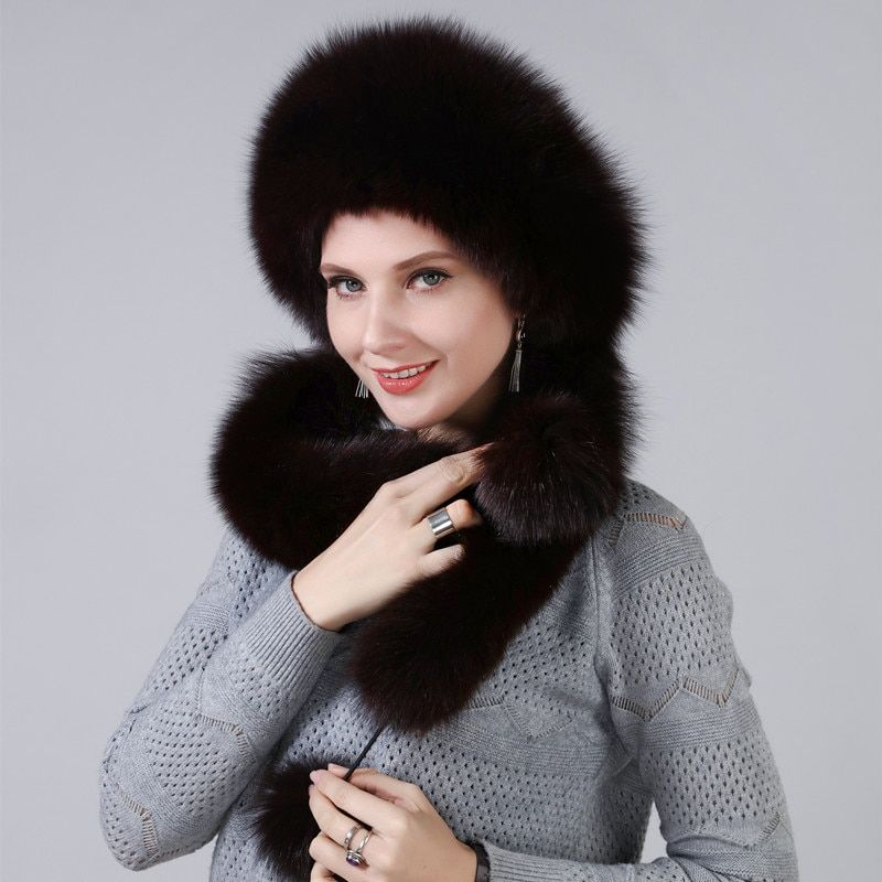 Winter Hat For Women With Real Natural Fox Fur Surround Extra length Can Be Used As A Scarf With Hanging Chain In The Back Caps