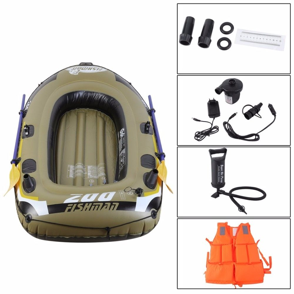 Rowing Boats Rubber Boat Kit PVC Inflatable Fishing Drifting Rescue Raft Boat Life Jacket Two Way Electric Pump Air Pump Paddles