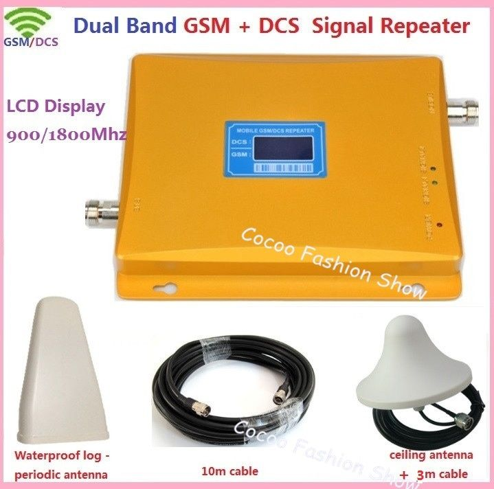 Dual Band GSM 3G Repeater GSM 4G 900 1800Mhz Mobile Phone Signal Repeater Booster GSM DCS Cell Phone Signal Amplifier + Antenna